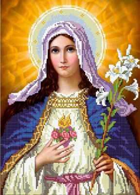 Основа для вышивания с нанесённым рисунком MOSMARA ММР-002 Дева Мария - схема (MOSMARA)