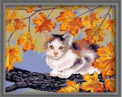 "MG021 ""Кот на дереве"" - раскраска (Menglei)"