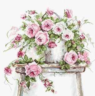 Набор для вышивания Luca-S BA2331 Розы на табурете