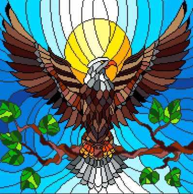 Основа для вышивания с нанесённым рисунком Матрёнин Посад 1937 Витраж орел - рисунок на канве (МП)