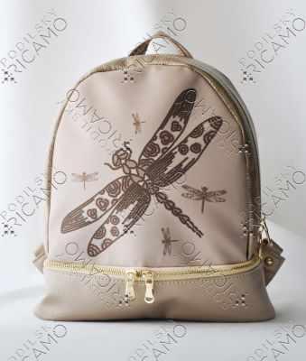 Набор для вышивания VIRENA Рюкзак-017 Набор для вышивания на рюкзаке. Бежевое золото. Стрекоза