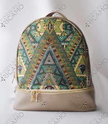 Набор для вышивания VIRENA Рюкзак_014 Набор для вышивания на рюкзаке. Бежевое золото. Геометрия