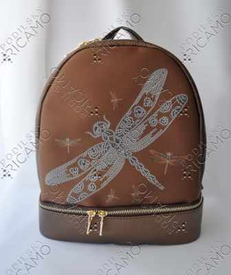 Набор для вышивания VIRENA Рюкзак_009 Набор для вышивания на рюкзаке. Темно-коричневое золото. Стрекоза