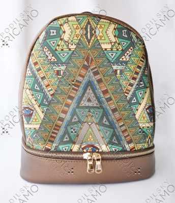 Набор для вышивания VIRENA Рюкзак_006 Набор для вышивания на рюкзаке. Темно-коричневое золото. Геометрия