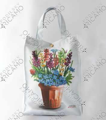Набор для вышивания VIRENA ЕКП_107 Набор для вышивания на Эко-сумке. Белый. Цветы в кашпо
