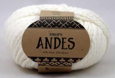 Пряжа DROPS Andes Цвет. 1101 Белый