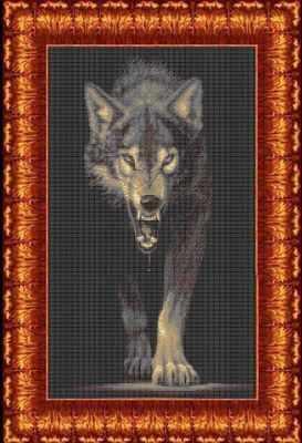 Основа для вышивания с нанесённым рисунком Каролинка КБЖ 2004 Хищники - Волк - схема для вышивания (Каролинка)