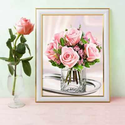 Алмазная мозаика Алмазная живопись Алмазная вышивка Нежные розы (АЖ-1676) - картина стразами алмазная мозаика тм цветной нежные цветы в белой вазе 40x50 см