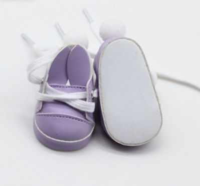 Заготовки и материалы для изготовления игрушки Арт ткани Обувь для кукол 7 см  туфли сиреневые с ушками и помпоном