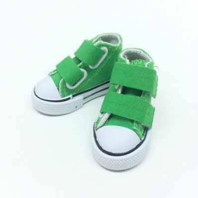 Заготовки и материалы для изготовления игрушки Арт ткани Обувь для кукол кеды, кроссовки зеленые, 7,5 см