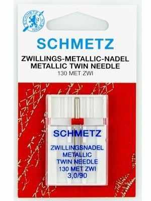 Инструменты для шитья Schmetz Иглы для металлизированных нитей двойные 130 MET ZWI №90/3,0, 1 шт