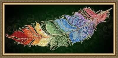 Основа для вышивания с нанесённым рисунком Art Solo VKA3132 Перо жар-птицы на темном - схема для вышивания (Art Solo) россия шкатулка перо жар птицы федоскино