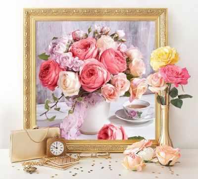 Фото - Алмазная мозаика Алмазная живопись Алмазная вышивка Пионы и розы (АЖ-1696) - картина стразами розы и пионы
