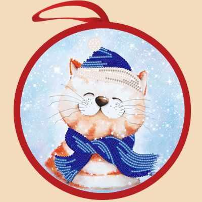 Основа для вышивания с нанесённым рисунком Марiчка ИКБ-006 Елочная игрушка. Новогодний кот - схема для вышивания (Марiчка)