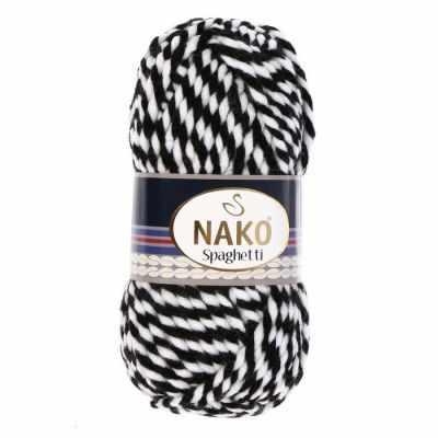 Пряжа Nako Spaghetti Цвет.3086 Бело-черный