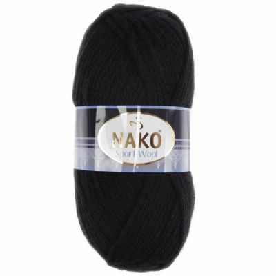 Пряжа Nako Пряжа Nako Sport Wool Цвет.217 Чёрный