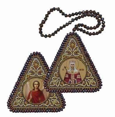 Набор для вышивания иконы Nova Sloboda ВХ1215 Св. Равноапостольная Царица Елена и Ангел Хранитель