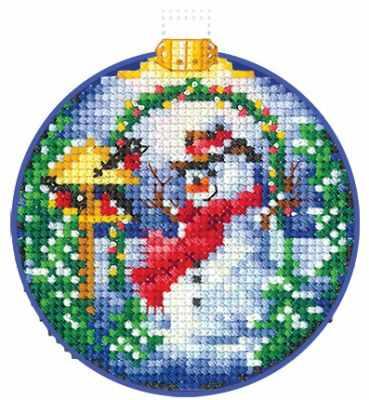 Набор для вышивания Сделай своими руками Н-25 Новогодние шары. Снеговик