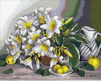 Мозаичная картина Паутинка Алмазная вышивка М264 Натюрморт с лилиями - мозаика (Паутинка)