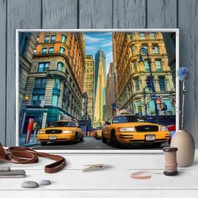 Алмазная мозаика Алмазная живопись Алмазная вышивка Такси Нью-Йорка (АЖ-1707) - картина стразами