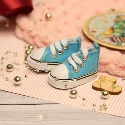 Заготовки и материалы для изготовления игрушки Березка Кеды для куклы на шнурочках 5 см, голубые