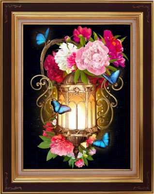 Алмазная мозаика Алмазная живопись Алмазная вышивка Фонарь в пионах (АЖ-1720) - картина стразами