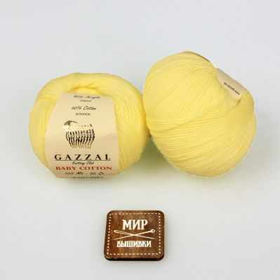 Пряжа GAZZAL Пряжа GAZZAL Baby Cotton Gazzal Цвет.3413 Светло желтый