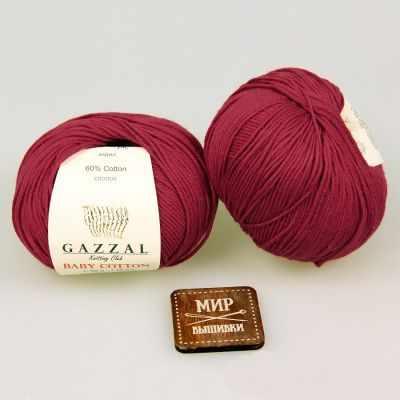 Пряжа GAZZAL Пряжа GAZZAL Baby Cotton Gazzal Цвет.3439 Бордовый