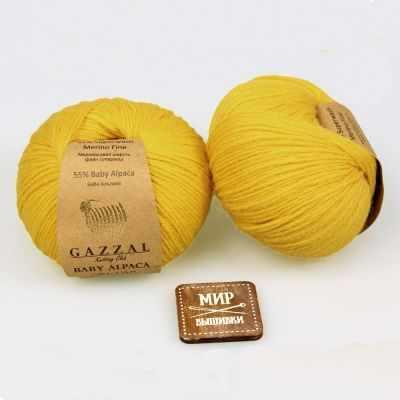 Пряжа GAZZAL Пряжа GAZZAL Baby Alpaca Цвет.46003 Желтый
