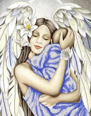 Ткань с нанесенной схемой для вышивания Наследие КБ-162 Ангел и дитя - схема для вышивания (Наследие)