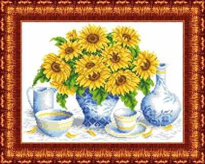 Основа для вышивания с нанесённым рисунком Каролинка КК 042 Подсолнухи в вазе - схема для вышивания (Каролинка)