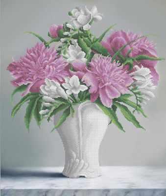 Основа для вышивания с нанесённым рисунком MOSMARA ММН-024 Букет пионами в белой вазе - схема (MOSMARA)