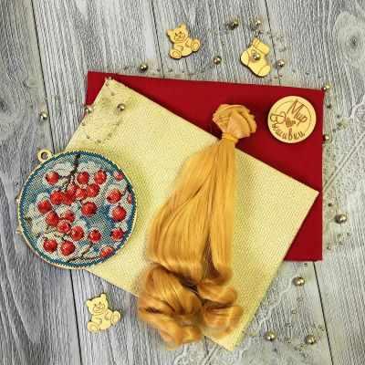 Заготовки и материалы для изготовления игрушки - Волосы локон 15 см, золотой блонд