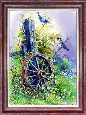 Основа для вышивания с нанесённым рисунком Каролинка КЛ 3036 Старое колесо - схема для вышивания (Каролинка)