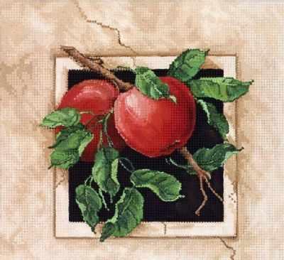 Основа для вышивания с нанесённым рисунком Tela Artis ТА-380 - Спелые яблоки - схема для вышивания (Tela Artis)