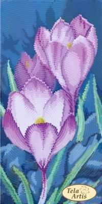 Основа для вышивания с нанесённым рисунком Tela Artis ТМ-126 - Садовые зарисовки. Крокусы - схема для вышивания (Tela Artis)