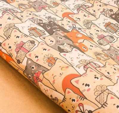 Бумага для упаковки подарков Дарите Счастье 3367747 Бумага упаковочная крафтовая «Котики с подарками» бумага упаковочная disney с днем рождения кошечка мари глянцевая 70 х 100 см