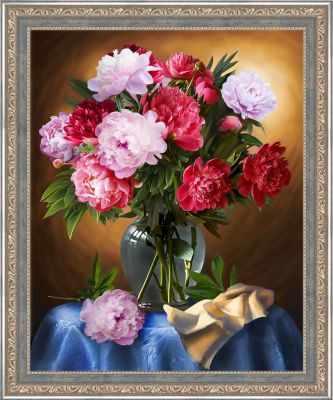 Алмазная мозаика Алмазная живопись Алмазная вышивка Шикарные пионы (АЖ-1734) - картина стразами