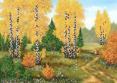 Фото - Основа для вышивания с нанесённым рисунком Марiчка РКП-712 Осенние берёзки - схема для вышивания (Марiчка) набор для вышивания acufactum осенние