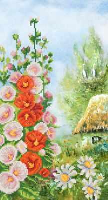 Основа для вышивания с нанесённым рисунком Марiчка РКП-702 Цветущая мальва - схема для вышивания (Марiчка)