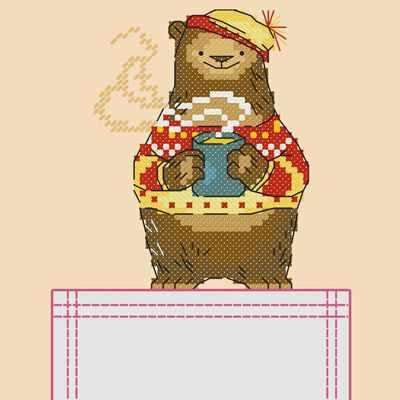 Основа для вышивания с нанесённым рисунком Марiчка СКВ-001 Мишка - схема для вышивания (Марiчка)