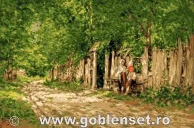 Набор для вышивания Goblenset 1081 Fete lucrand la poarta