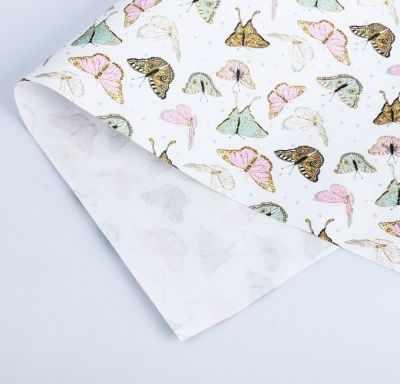 Бумага для упаковки подарков Дарите Счастье 3903225 Бумага упаковочная крафтовая «Бабочки»