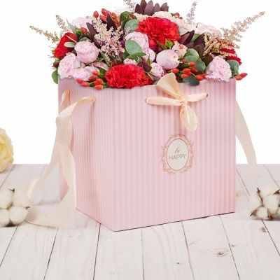 цена на Подарочный конверт Дарите Счастье 2955332 Пакет–коробка с лентами «Будь счастлив»