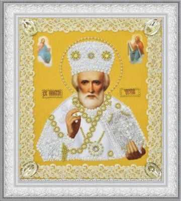 Набор для вышивания Картины бисером Р-369 Икона Святителя Чудотворца (золото) ажур