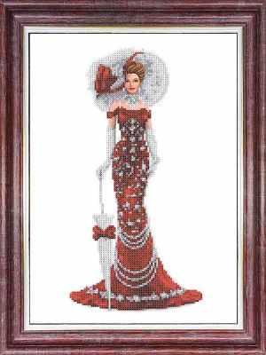 Основа для вышивания с нанесённым рисунком Каролинка КБЛ 3043 Дама в красном - схема для вышивания (Каролинка)