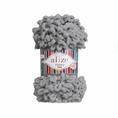 Пряжа Alize Пряжа Alize Puffy Fine Цвет.343 Серый