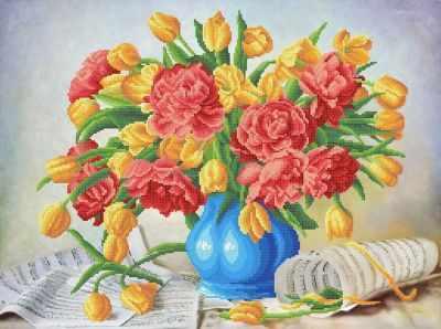 Основа для вышивания с нанесённым рисунком MOSMARA ММН-032 Симфония пионов и тюльпанов 2 - схема для вышивания (MOSMARA)