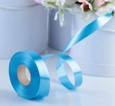 Ленты для упаковки подарков - 4147851 Лента для декора и подарков ярко-голубая, 2 см х 45 м