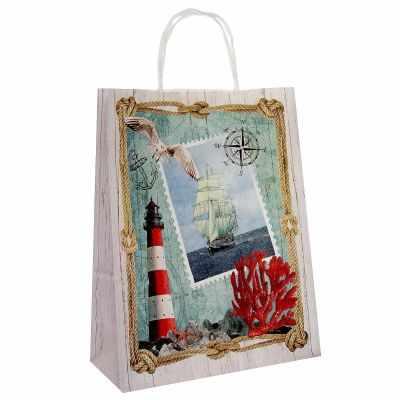 Подарочный конверт - 3370809 Пакет крафт Море 25 х 11 х 32 см пакет подарочный крафт 26 32 13 см бумага